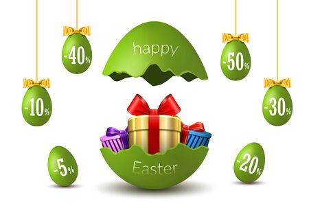 Easter eggs sale. Broken Happy Easter egg 3D template isolated on white background. Design banner, greeting, promotion, holiday decoration, special offer discount. Gold gift box Vector illustration Illusztráció