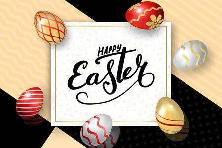 Happe Easter background, lettering, eggs. Greeting Easter 3D card. Gold decoration frame, handwritten inscription. Holiday design poster, flyer, banner. Calligraphy retro letter Vector illustration