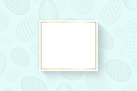Happy Easter background, pastel textured eggs. Gold decoration paper frame. Greeting Easter 3D card. Border template, empty copy space. Holiday design poster, banner, invitation Vector illustration