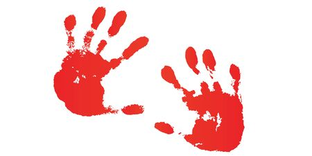 Hand paint print set, isolated white background. Red human palm and fingers. Abstract art design, symbol identity people. Silhouette child, kid, people handprint. Grunge texture Vector illustration