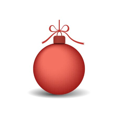 Christmas tree ball with ribbon bow. Red bauble decoration, isolated on white background. Symbol of Happy New Year, Xmas holiday celebration, winter. Flat design for card Vector illustration