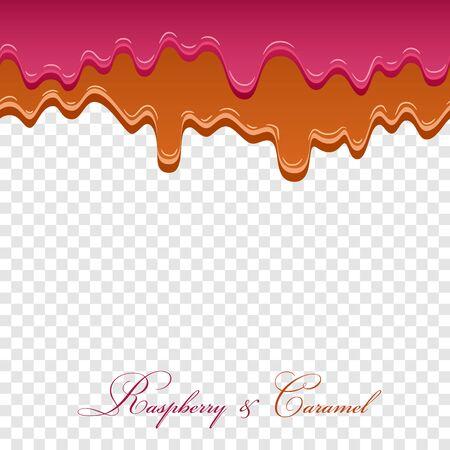 Caramel sauce, raspberry jam seamless pattern. 3d caramel drop liquid isolated white transparent background. Splash flow border. Sweet design. Realistic candy food. Drip dessert Vector illustration