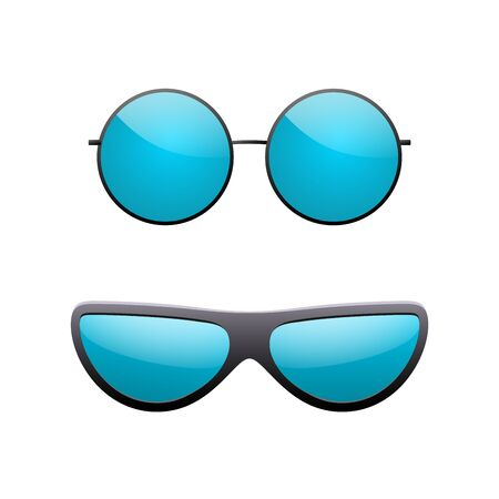 Round sunglasses 3D set. Summer sunglass shade isolated white background. Fun color sun glass. Realistic design eye sight protection. Fashion eyeglasses. Beach sunlight accessory Vector illustration