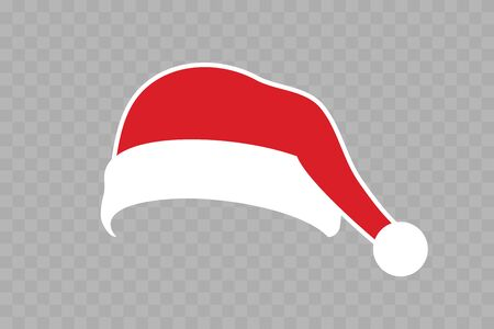 Santa Claus hat flat. Realistic Santa Claus hat isolated transparent background. Red white funny cap silhouette. Merry Christmas clothes cartoon design. New year decoration costume Vector illustration