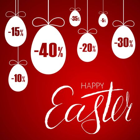 Easter sale banner. Easter hanging eggs, cartoon ribbon bow, red background. Tag template for holiday Easter decoration, label discount, special offer. Lettering text design Vector illustration