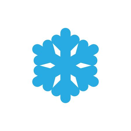 Snowflake icon. Blue silhouette snow flake sign, isolated on white background. Flat design. Symbol of winter, frozen, Christmas, New Year holiday. Graphic element decoration Vector illustration Ilustracja