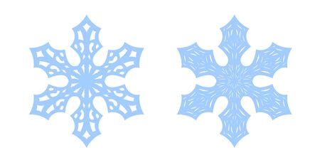 Snowflake icons set. Blue silhouette snow flake sign, isolated on white background. Flat design. Symbol of winter, frozen, Christmas, New Year holiday. Graphic element decoration Vector illustration