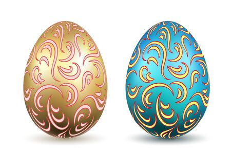 Easter egg 3D icons. Ornate gold color eggs set, isolated white background. Swirl realistic design, decoration Happy Easter celebration. Holiday ornamental element. Spring pattern Vector illustration Illusztráció