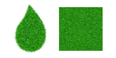 Green grass background 3D set. Lawn greenery nature drop, seamless pattern field isolated on white. Field texture square, droplet. Landscape grassland. Grassy design. Grow meadow Vector illustration