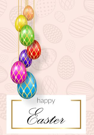 Happy Easter background, decorative text, hanging eggs, texture pastel. Greeting Easter 3D card. Gold decoration holiday frame, calligraphic letter inscription. Holiday design Vector illustration