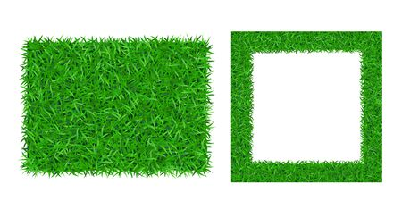 Green grass background 3D set. Lawn greenery nature frame. Abstract soccer field texture square rectangle border. Landscape pattern. Grassy design Ecology environment. Grow meadow Vector illustration