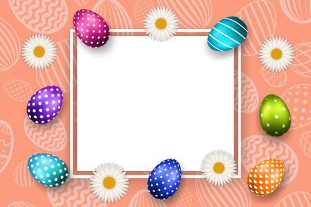 Happy Easter background, pastel textured eggs, chamomile. Decoration paper frame. Greeting Easter 3D card. Border template, empty space. Holiday design poster, banner, invitation Vector illustration Illustration