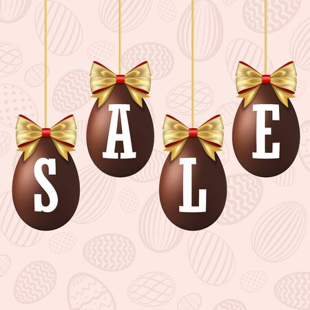 Easter egg sale 3D icons set. Gold ribbon bow, white text, hanging chocolate eggs isolated background. Design banner, promotion decoration, special offer, best price. Tag discount Vector illustration Illusztráció