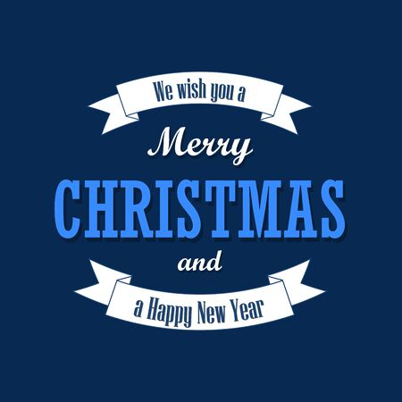 Christmas text, white ribbon. Merry Christmas and Happy New Year wishes, isolated on blue background. Design for banner, label, holiday message, postcard. Retro vintage decoration Vector illustration
