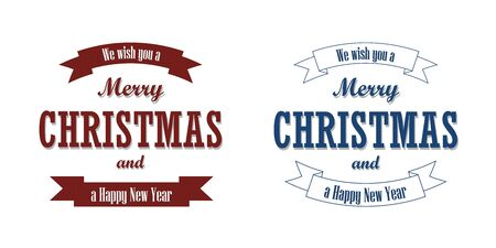 Christmas red blue text, ribbon set. Merry Christmas and Happy New Year wishes isolated white background. Design banner, label, holiday message, postcard. Retro vintage decoration Vector illustration Illusztráció