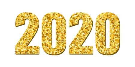 Happy New Year gold number 2020. Bright golden design with sparkle, isolated white background. Holiday glitter typography for Christmas banner, calendar, decoration, greeting card Vector illustration