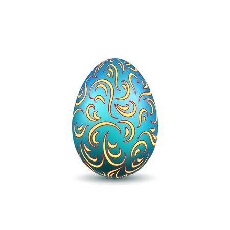 Easter egg 3D icon. Ornate color egg, isolated white background. Swirl realistic design, decoration Happy Easter celebration. Holiday ornamental element. Graceful spring pattern Vector illustration