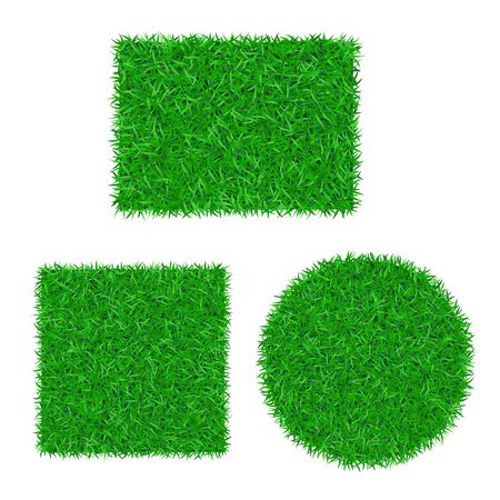 Green grass background 3D set. Lawn greenery nature ball. Abstract soccer field texture circle, square, rectangle. Ground landscape pattern. Grassy design. Beautiful grow meadow Vector illustration