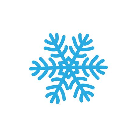 Snowflake icon. Blue silhouette snow flake sign, isolated on white background. Flat design. Symbol of winter, frozen, Christmas, New Year holiday. Graphic element decoration Vector illustration Stock Illustratie