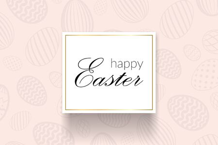 Happy Easter background, decorative text, eggs texture pastel. Greeting Easter 3D card. Gold decoration holiday frame, calligraphic letter inscription. Holiday design poster Vector illustration