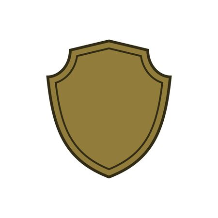 Shield shape gold icon. Simple flat logo on white background. Symbol of security, protection, safety, strong. Element badge for protect design emblem decoration. Vector illustration