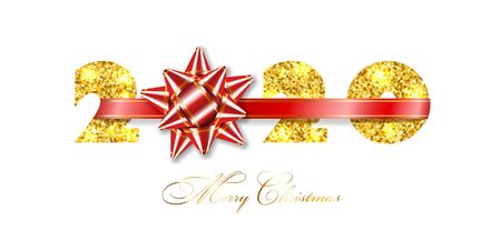 Merry Christmas card. 3D gift bow, ribbon, gold number 2020 isolated white background. Golden texture glitter design. Holiday New Year celebration, decoration, greeting banner Vector illustration