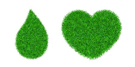 Green grass 3D set. Green grass heart love land, drop isolated white background. Ecology garden. Bio texture evergreen carpet. Eco environment concept. Decorative droplet design Vector illustration