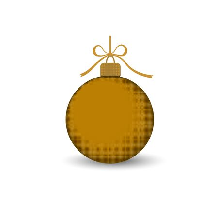 Christmas tree ball with gold ribbon bow. Golden bauble decoration, isolated on white background. Symbol of Happy New Year, Xmas holiday celebration, winter. Flat design for card Vector illustration