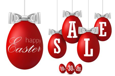 Easter egg sale 3D. Happy Easter hanging red eggs, ribbon bow isolated white background. 10, 20, 30 percent off. Design banner, poster, promotion, special offer. Tag discount Vector illustration