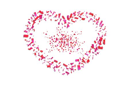 Heart confetti isolated white background. Fall red confetti, heart-shape. Valentine day holiday, romantic wedding border card. Valentines decoration frame. Greeting love design Vector illustration