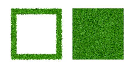 Green grass background 3D set. Lawn greenery nature seamless pattern. Abstract soccer field texture frame square. Ground landscape pattern. Grassy design. Beautiful grow meadow Vector illustration