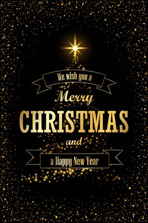 Christmas tree card, ribbon, black background. Gold Christmas tree symbol Happy New Year, Merry Christmas holiday celebration. Golden light sparkle decoration. Bright shiny card Vector illustration