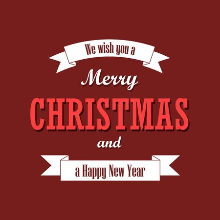 Christmas text, white ribbon. Merry Christmas and Happy New Year wishes, isolated on red background. Design for banner, label, holiday message, postcard. Retro vintage decoration Vector illustration Ilustracja