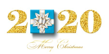 Merry Christmas card. 3D gift box, ribbon bow, gold number 2020 isolated white background. Golden holiday glitter design. Happy New Year celebration, decoration, greeting banner Vector illustration