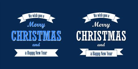 Christmas text, white ribbon set. Merry Christmas and Happy New Year wishes isolated blue background. Design for banner, label, holiday message, postcard. Retro vintage decoration Vector illustration
