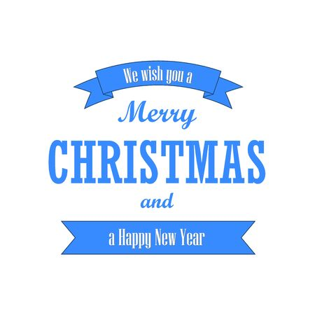 Christmas text, blue ribbon. Merry Christmas and Happy New Year wishes, isolated on white background. Design for banner, label, holiday message, postcard. Retro vintage decoration Vector illustration Ilustracja