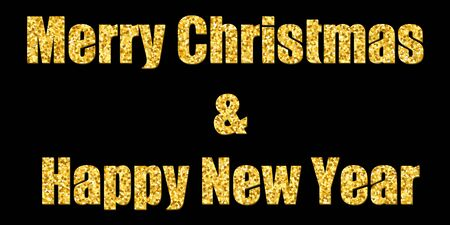 Marry Christmas and Happy New Year gold text decoration. Bright golden texture with sparkle, isolated black background. Design typography for holiday, greeting card, celebration Vector illustration