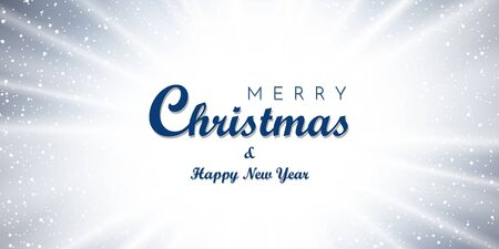 Christmas blue background. Merry Christmas wish, Happy New year holiday winter Xmas card. Vintage greeting sun rays design. Snowflake snow decoration. Magic shine star, sparkle Vector illustration Ilustracja