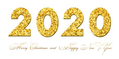 Merry Christmas card. Gold number 2020 with text, isolated on white background. Golden texture holiday design. Happy New Year celebration, decoration. Invitation greeting banner Vector illustration