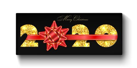Merry Christmas card. 3D gift box, ribbon bow, gold number 2020 isolated white background. Golden texture glitter design. Holiday New Year celebration, decoration, greeting banner Vector illustration Ilustracja