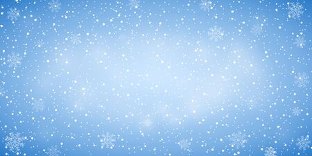 Snow blue background. Christmas snowy winter design. White falling snowflakes, abstract landscape. Cold weather effect. Magic nature fantasy snowfall texture decoration. Vector illustration Ilustracja