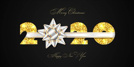 Merry Christmas card. 3D gift bow, ribbon, gold number 2020 isolated black background. Golden texture glitter design. Holiday New Year celebration, decoration, greeting banner Vector illustration Ilustracja