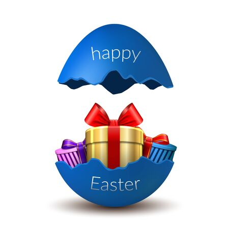 Gift box Happy Easter egg surprise. Broken blue Easter 3D egg, isolated on white background. Decoration template card, holiday celebration. Realistic gold present, bright ribbon Vector illustration