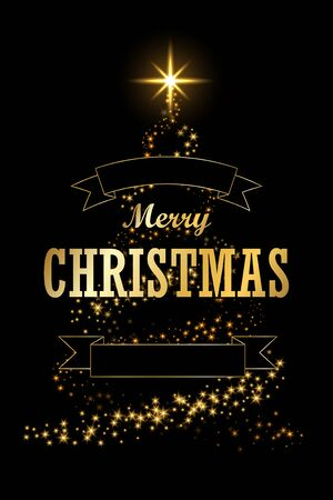Christmas tree card, ribbon, black background. Gold Christmas tree symbol Happy New Year, Merry Christmas holiday celebration. Golden light sparkle decoration. Bright shiny card Vector illustration