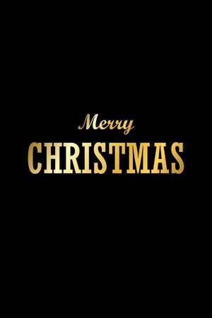 Christmas tree card, isolated black background. Gold Merry Christmas text greeting, symbol Happy New Year holiday celebration. Golden light decoration. Bright shiny gradient design Vector illustration