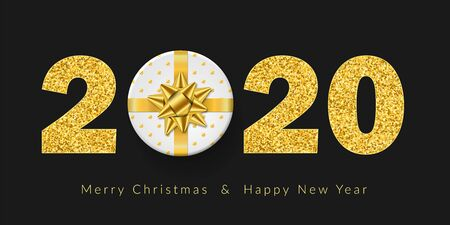 Merry Christmas card. 3D white gift box, ribbon bow, gold number 2020 isolated black background. Golden texture glitter design. Holiday New Year decoration, greeting banner Vector illustration