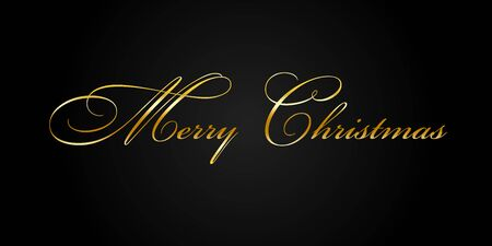 Merry Christmas gold text decoration. Bright golden texture lettering with sparkle, isolated black background. Design typography for holiday, greeting card, Christmas celebration Vector illustration
