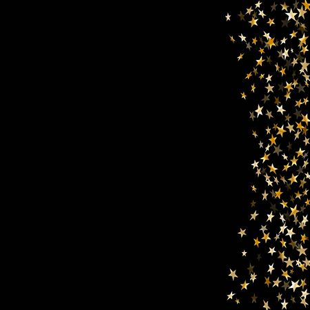 Gold stars falling confetti isolated on black background. Golden abstract random pattern Christmas card, New Year holiday. Shiny confetti paper stars. Glitter explosion Vector illustration