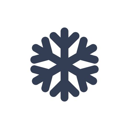 Snowflake icon. Black silhouette snow flake sign, isolated on white background. Flat design. Symbol of winter, frozen, Christmas, New Year holiday. Graphic element decoration Vector illustration