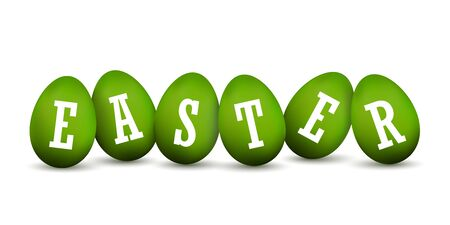 Easter egg 3D icons. Green set, white text, eggs in row, isolated background. Bright realistic design, decoration Happy Easter celebration. Holiday element pattern. Spring symbol Vector illustration